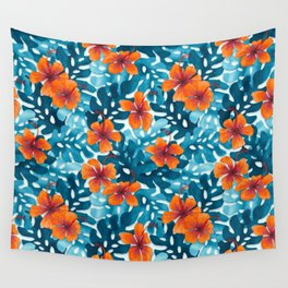 Tropical Hibiscus Pattern Orange Wall Tapestry