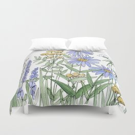 Asters and Wild Flowers Botanical Nature Floral Duvet Cover