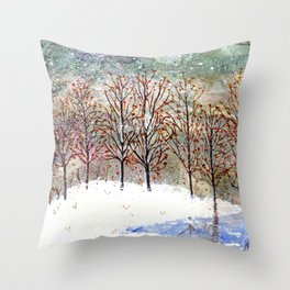 Snowy Trees along Moon Lake in Dewdrop Holler Throw Pillow