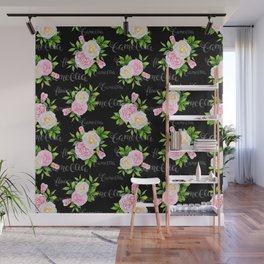 Watercolor blush pink white black camellia floral typography Wall Mural