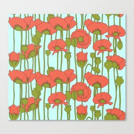 poppies in coral on turquoise Canvas Print