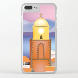 St. Tropez, France - Skyline Illustration by Loose Petals Clear iPhone Case