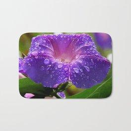 Morning Glory Petals and Dew Drops Vector Bath Mat