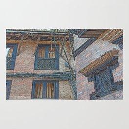 BHAKTAPUR NEPAL BRICKS WINDOWS WIRES Rug