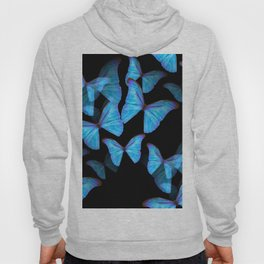 Turquoise Blue Tropical Butterflies Black Background #decor #society6 #buyart Hoody