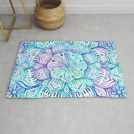 Iridescent Aqua and Purple Watercolor Mandala Rug