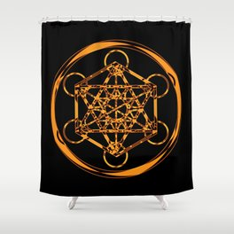 Metatron Cube Gold Shower Curtain