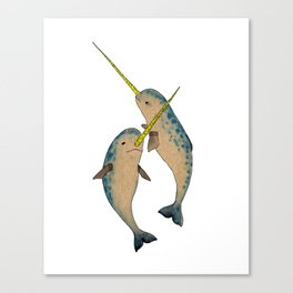 Winter Narwhals Canvas Print