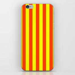 Super Bright Neon Orange and Yellow Vertical Beach Hut Stripes iPhone Skin