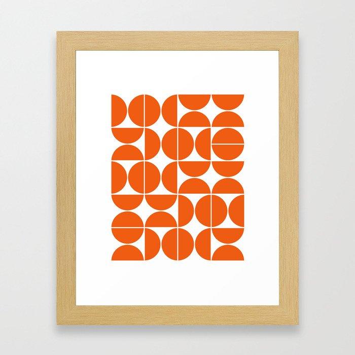Mid Century Modern Geometric 04 Orange Gerahmter Kunstdruck