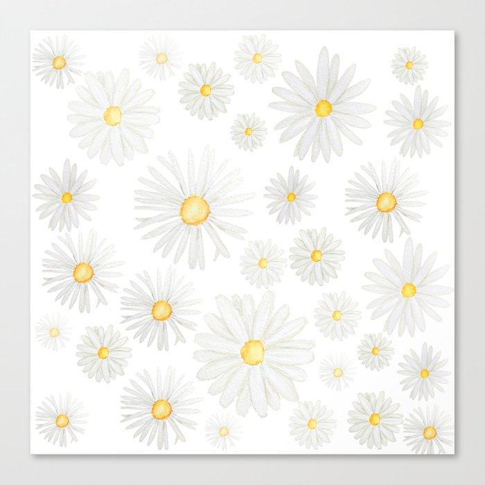 white daisy pattern watercolor Leinwanddruck