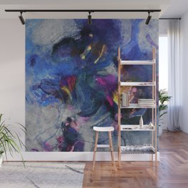 Contemporary Abstract Art in Blue and Yellow Wall Mural
