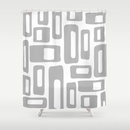 Retro Mid Century Modern Abstract Pattern 336 Gray Shower Curtain