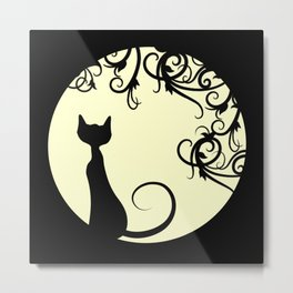 Black cat in the moon Metal Print