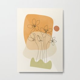 Minimal Abstract Flowers 01 Metal Print
