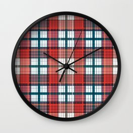 Colorful red grey plaid . Wall Clock