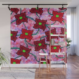 Fresh Floral: Red Wall Mural