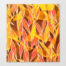 Bright Golden Orange Leaves Floral Print Canvas Print