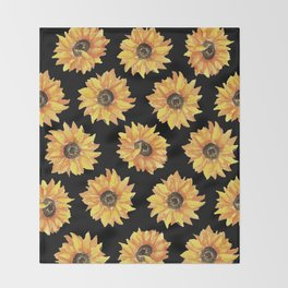 Sunflowers on Black Throw Blanket