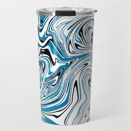 Abstract Blue & Black Marble Painting I Travel Mug