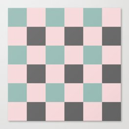 Contemporary Mint Pink Gray Gingham Pattern-Mix and Match Canvas Print