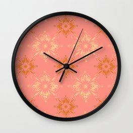 Ornament in Peach and Gold Wall Clock