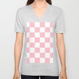 Large Checkered - White and Pink Unisex V-Neck