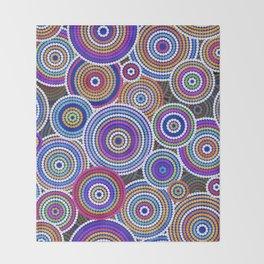 Colorfull Aboriginal Dot Art Pattern Throw Blanket