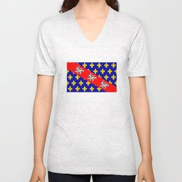 marche region flag france province Unisex V-Neck