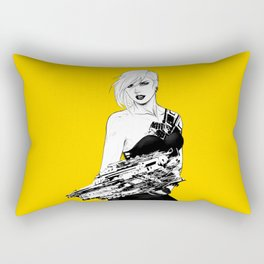 Arbitrary - Badass girl with gun in comic and pop art style Rectangular Pillow