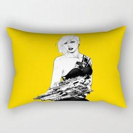 Badass girl with gun in comic pop art style Rectangular Pillow