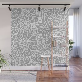 Marigold Lino Cut, Cloud Grey Wall Mural