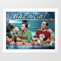 bazinga Art Prints featuring Tribble Bazinga by Rabittooth