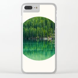 Mid Century Modern Round Circle Photo Graphic Design Reflective Green Pine Forest Lake Clear iPhone Case