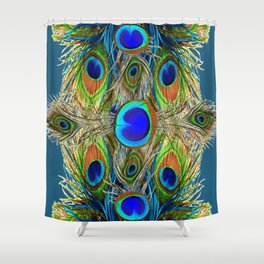 BLUE-GREEN PEACOCK EYE  FEATHERS BLUISH DESIGN Shower Curtain