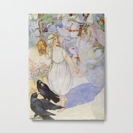 """Gerda and the Ravens"" Fairy Art by Anne Anderson Metal Print"