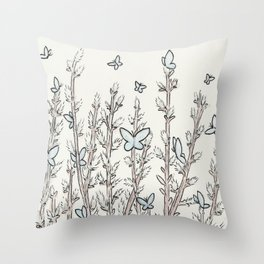 Blue Moth Pussy Willow Throw Pillow