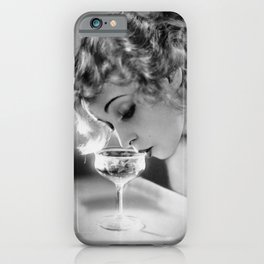 Jazz Age Blond Sipping Champagne black and white photograph / photography iPhone Case