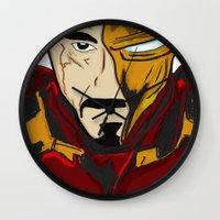 tony stark Wall Clocks featuring Iron Man 3 (Tony Stark) by  Steve Wade ( Swade)