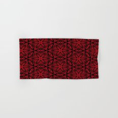 Black and red geometric flowers 5006 Hand & Bath Towel