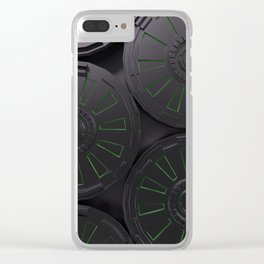 Dark futuristic technological shape with glowing lines Clear iPhone Case