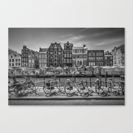 AMSTERDAM Singel Canal with Flower Market | monochrome Canvas Print