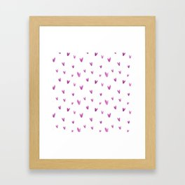 Pink hand painted watercolor romantic hearts pattern Framed Art Print