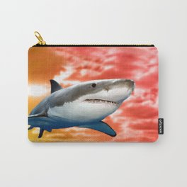 Shark flying in red sky Carry-All Pouch