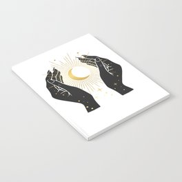 Gold La Lune In Hands Notebook