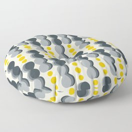 Uende Grayellow - Geometric and bold retro shapes Floor Pillow
