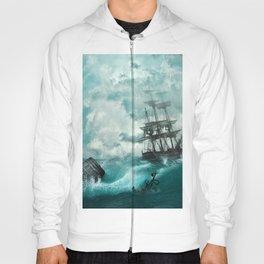 Storm Sea Ship Shipwreck Ocean Blue Hoody