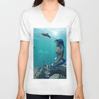 underwater V-neck T-shirts featuring Underwater by nicky2342