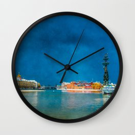 Snow Showers Over Moscow Wall Clock