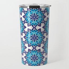 Beautiful Blue and Purple Beadwork Inspired Print Travel Mug